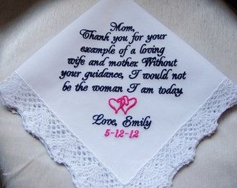 Personalized Mother of the Bride Handkerchief Personalized, Custom Hankie, Hanky