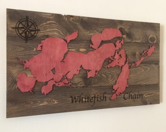 Whitefish Chain Wood Map Sign