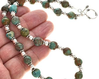 Navajo Turquoise Bead Silver Necklace Southwest Style Choker