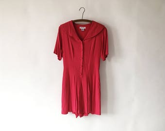 Vintage 90s Red Rayon Romper Playsuit