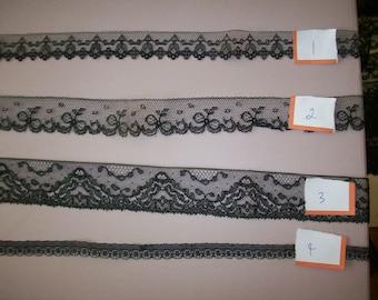 Antique black silk lace  victorian hand