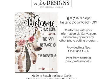Wifi Password Art,, Printable Art 5 x 7 - Wifi Password Art Print  - Welcome to My Home Wifi Print, Home Decor Poster Floral Art Print