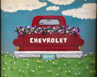 Original Painting, Old Truck Art, Old Truck Painting, Acrylic on Canvas, Old Chevy Truck Art, Truck Painting Original, Artwork