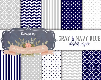 SALE Navy Blue Digital Papers, Navy Blue Chevrons, Navy Blue Polka Dots, Navy blue and gray Digital Scrapbooking Paper, Instant Download