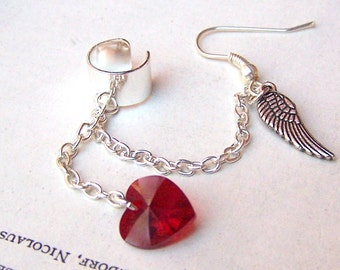Feather Ear Cuff with Chain Red Swarovski Heart Wing Ear Wrap Stocking Stuffer Gift for Her Under 20