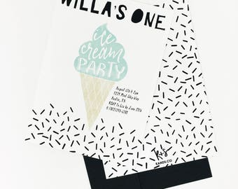 Ice Cream Party Invitation | Ice Cream Birthday Party, Ice Cream Cone, First Birthday, Sprinkles, Mint, Pink, Watercolor Birthday Printable