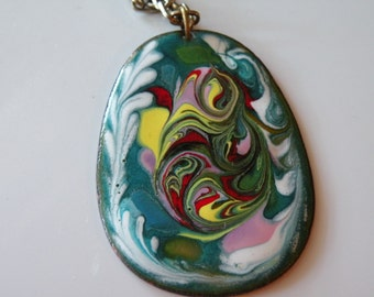 On Sale Copper, enamel pendant with chain. Handmade.