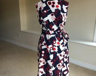 Modern Geometric Pop Print Sheath Belted Dress 1970