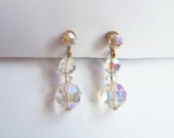 Crystal Dangle Earrings - Crystal Clip On Earrings