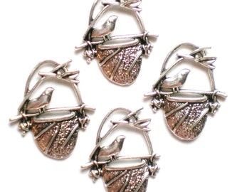 10 Jewelry supply Bird in Nest Silver Charms (BB4)