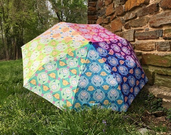 Rainbow Fox Folding Umbrella Parasol