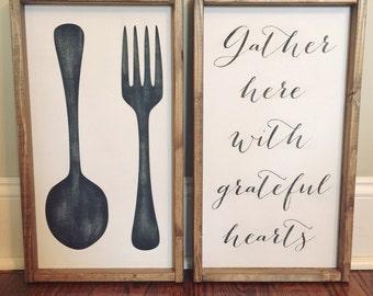 Fork/Spoon & Gather sign set