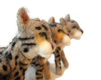 THREE Custom needle felted Cats  -  Kitten soft sculpture -  small size - Savanna Cat art - pet memorial  sculpture