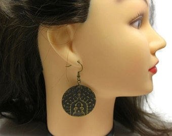 Embossed Antiqued Brass Earrings