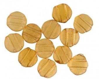Old Bohemian amber glass two-hole disks. 7mm. Pkg of 25. b11-yo-0824(e)