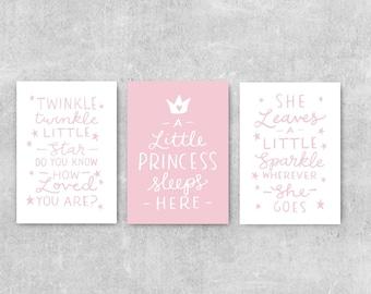 Baby Girl Nursery Decor, Girls Room Wall Art, Set Of 3 Nursery Prints, Pink Wall Art, Girl Nursery Decor, Gift For Little Girl, Quote Art