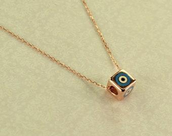 Silver 925 necklace rose gold die eye light blue