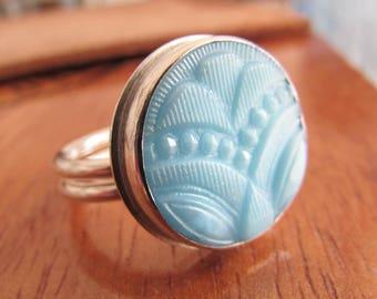 Vintage Blue Glass Deco Button Ring