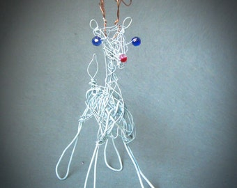 Christmas Reindeer Decoration,  Wire Ornament,   Holiday Table Decor, Hanging Tree Ornament, Holiday Woodland animal