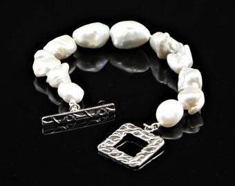 Large, White Baroque, Keshi, Pearl, Hand Knotted Bracelet with Sterling Silver Toggle Clasp