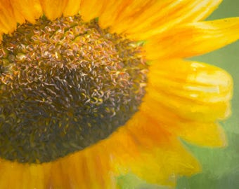 Dreamy Painterly Sunflower Art in Nature Photograph Digital Download