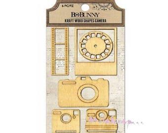 """Set of 6 """"Photograph"""" BO BUNNY embllissements wood embellishment scrap (ref.210) *."""
