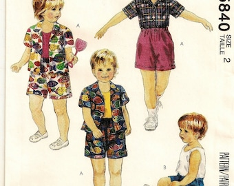 """A Buttoned Short Sleeve Shirt, Tank Top and Elastic Waist Shorts Pattern: Uncue - Toddlers' Size 2, Breast 21"""" ~ McCall's 5840"""