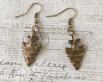 Arrowhead Earrings Bronze Antiqued Gold Pewter Hammered