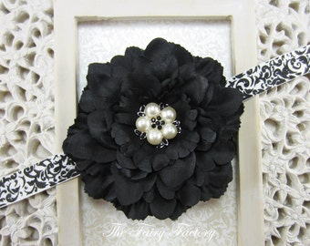Black Flower Headband, Flower w/ Pearl & Crystal Center Black and White Damask Headband or Hair Clip, The Eva, Newborn Baby Girls Headband