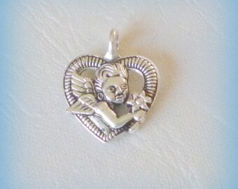 1 charm / pendant Angel - silver aged