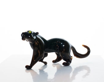 Guenhwyvar Black Panther Handcrafted Glass Figurine