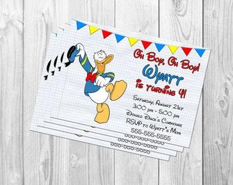 Donald Duck Invitation, Donald Duck Birthday Party, Donald Duck Invite, Donald Duck Printable