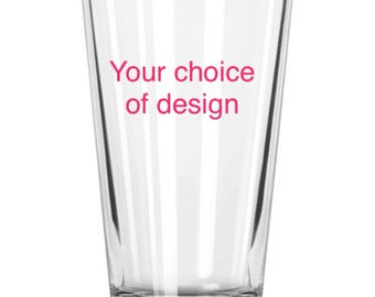 Hand painted 23oz or 16oz glass, your choice of design!