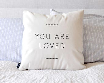 You Are Loved - Velveteen Throw Pillow Cover