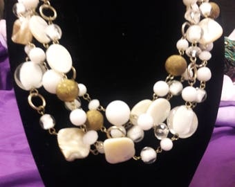 Vintage Shell and Beaded 4 strand necklace
