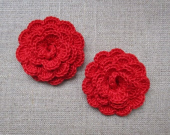 """set of 2 red flowers crocheted """"pink style"""""""