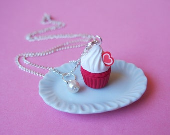 Red cupcake necklace (valentine necklace red necklace gift for her food miniature cupcake jewelry cupcake charm kawaii jewelry polymer clay)