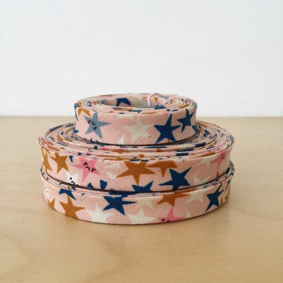 "Bias Tape- Cotton + Steel Papercuts Starstruck cotton 1/2"" double-fold binding- 3 yard roll"