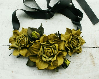 Olive green leather floral bib necklace - Made to Order