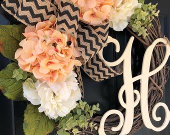 Spring Wreath -Wreath -Hydranga Peony Chevron Monogram Wreath -Valentines Day Gift - Housewarming Gift -Gift Ideas