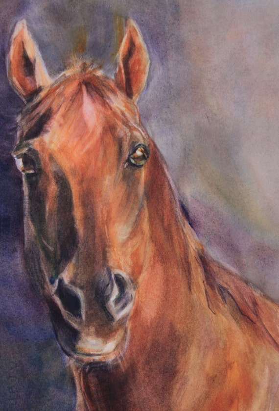 horse portrait - custom pet portrait - Bonnie White pet portrait - painting - dog painting - horse painting - custom horse painting