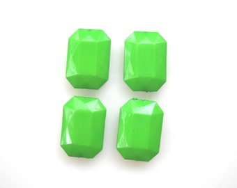 Apple green large bead, Rectangle puffy faceted bead, Acrylic bead light green,