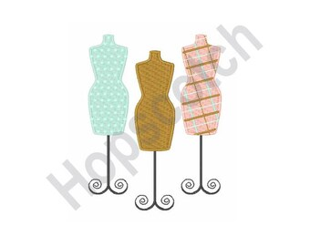 Dress Forms - Machine Embroidery Design - 4 X 4 Hoop, Dressmaker, Tailor, Seamstress, Profession
