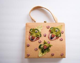 1960s Handbag | Strawberry Patch | Vintage 60s Tan Woven Burlap Purse 3D Velvet Strawberries Needle Point Straw Purse Kiss Lock Hinge Frame