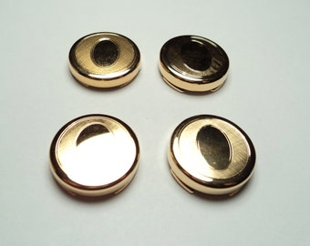 4 pcs - Gold plated Button Covers  - bc03