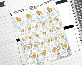 """ANNA - """"Working on a Desktop"""" Decorative Planner Stickers from the Little Luna and Friends Collection Series"""