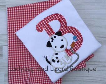 Dalmatian Puppy Short/Long Sleeve Initial Top and Red Gingham Shorts/Pants Outfit Sizes 12M-18M, 2T-5T, 6