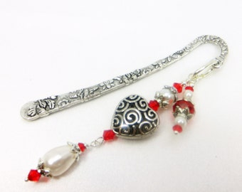 Small  Beaded Bookmark in Red and White Pearl and Antique Silver Heart