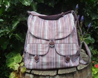 Striped corduroy messenger bag,buttoned big bag