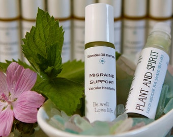 MIGRAINE SUPPORT - essential oil roll-on, migraine headache, vascular headache, aromatherapy , travel & gift bag ready, vegan, eco-friendly